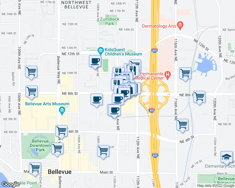 map of restaurants, bars, coffee shops, grocery stores, and more near NE 8th St & 110th Ave NE in Bellevue