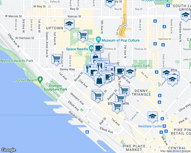 map of restaurants, bars, coffee shops, grocery stores, and more near