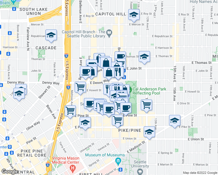 map of restaurants, bars, coffee shops, grocery stores, and more near 1815 Harvard Ave in Seattle