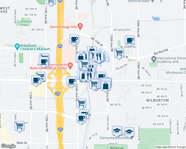 map of restaurants, bars, coffee shops, grocery stores, and more near 11818 Northeast 8th Street in Bellevue