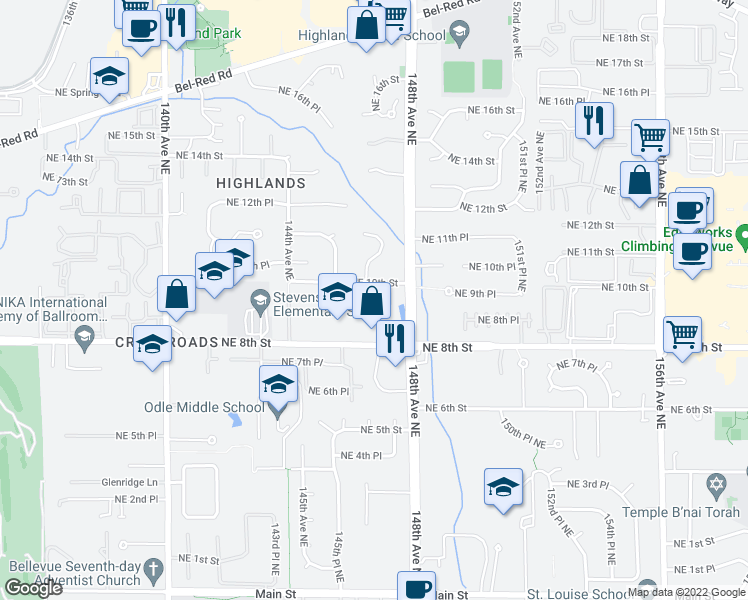 map of restaurants, bars, coffee shops, grocery stores, and more near 1002 147th Pl NE in Bellevue