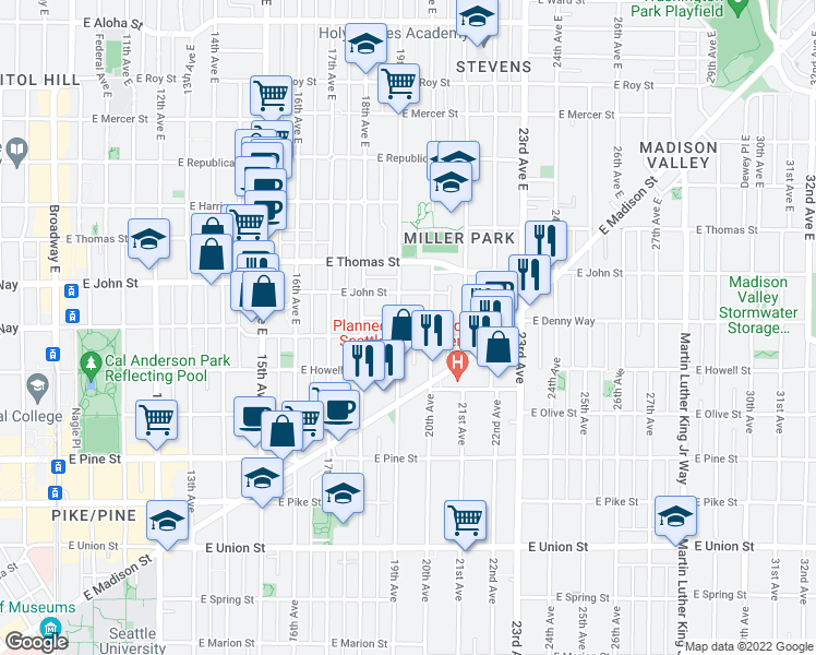 map of restaurants, bars, coffee shops, grocery stores, and more near 106 19th Ave E in Seattle