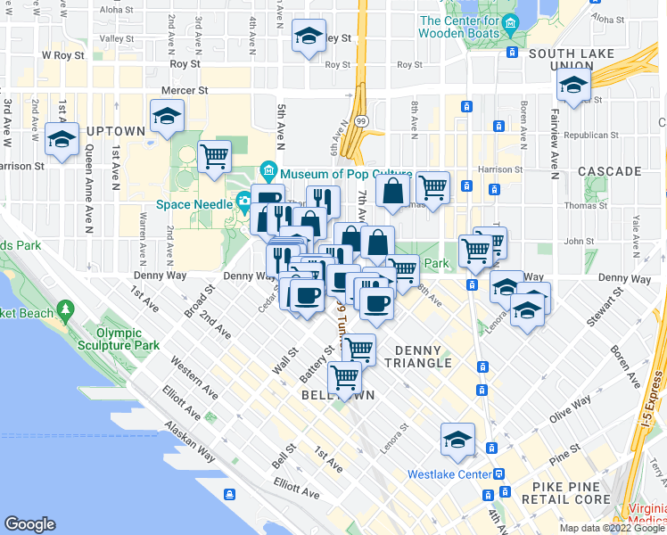 map of restaurants, bars, coffee shops, grocery stores, and more near Washington 99 in Seattle