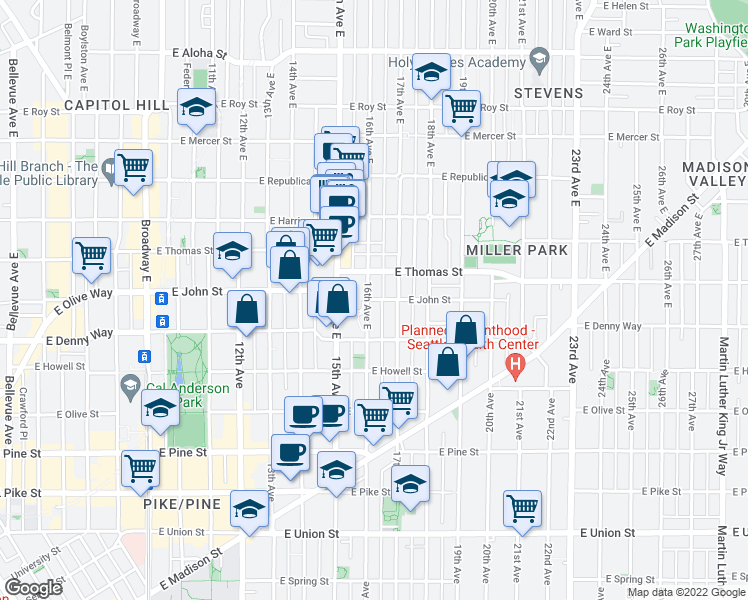 map of restaurants, bars, coffee shops, grocery stores, and more near 139-157 16th Avenue East in Seattle