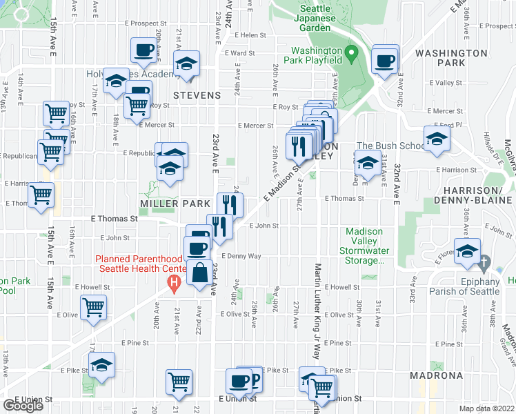 map of restaurants, bars, coffee shops, grocery stores, and more near East Madison Street & 25th Avenue East in Seattle