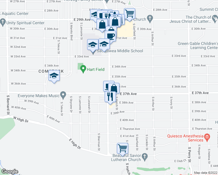 map of restaurants, bars, coffee shops, grocery stores, and more near 3514 South Grand Boulevard in Spokane
