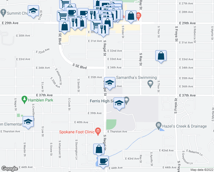 map of restaurants, bars, coffee shops, grocery stores, and more near 2921 East 36th Avenue in Spokane