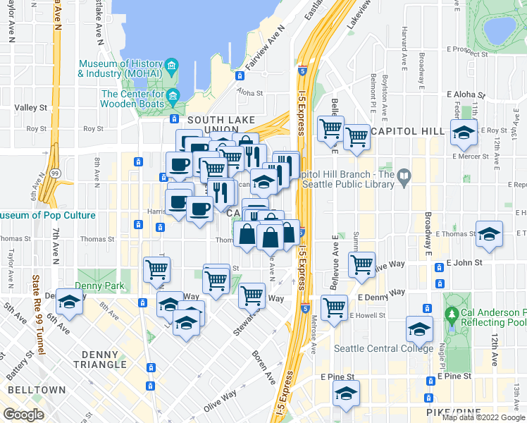 map of restaurants, bars, coffee shops, grocery stores, and more near 1260 Harrison Street in Seattle