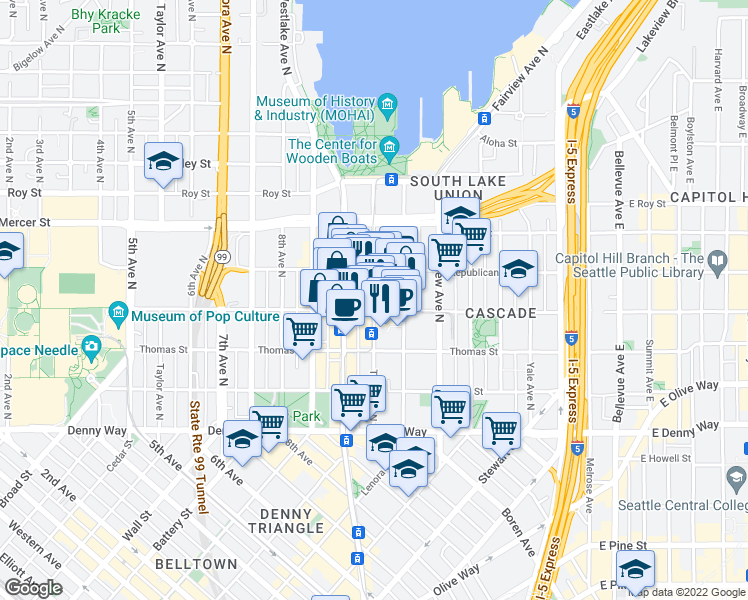 map of restaurants, bars, coffee shops, grocery stores, and more near 426 Terry Avenue North in Seattle