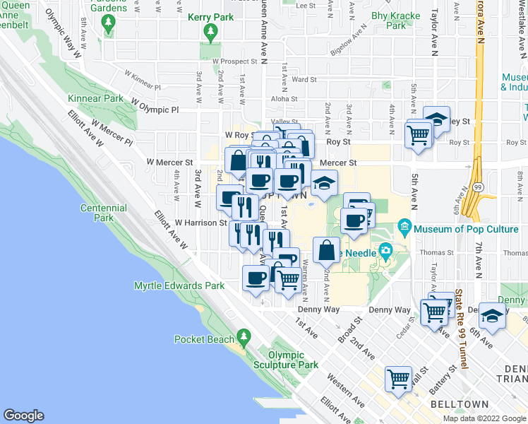map of restaurants, bars, coffee shops, grocery stores, and more near 420 Queen Anne Avenue North in Seattle