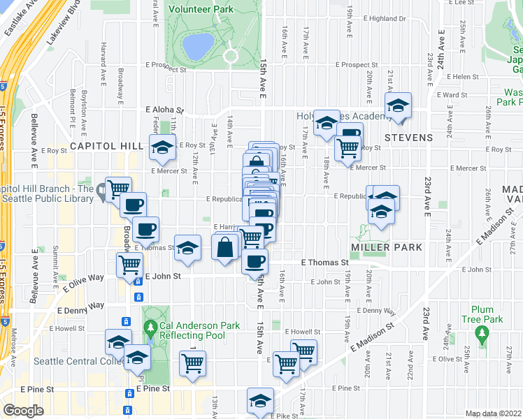 map of restaurants, bars, coffee shops, grocery stores, and more near 411 15th Ave E in Seattle