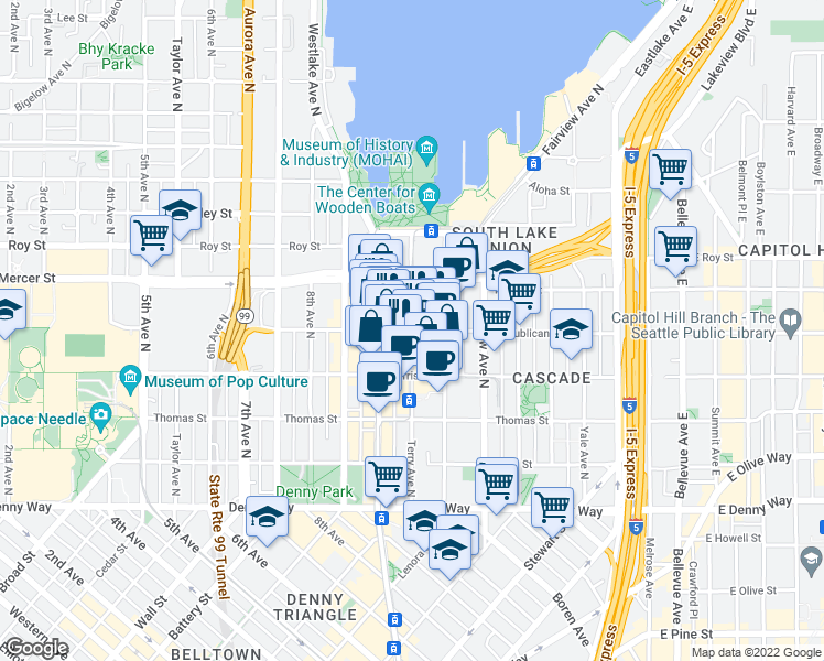 map of restaurants, bars, coffee shops, grocery stores, and more near Republican St & Terry Ave N in Seattle