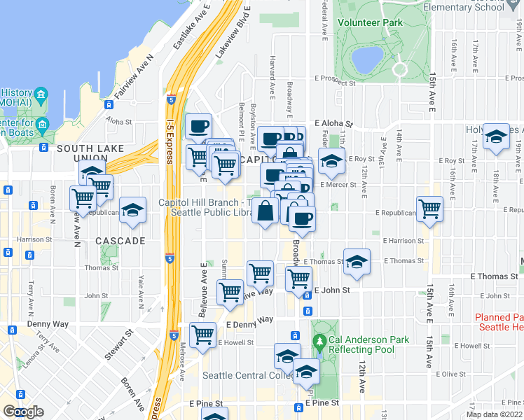 map of restaurants, bars, coffee shops, grocery stores, and more near 502 Boylston Ave E in Seattle