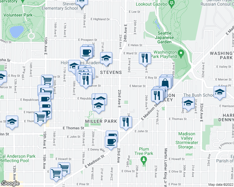 map of restaurants, bars, coffee shops, grocery stores, and more near 521 23rd Avenue East in Seattle