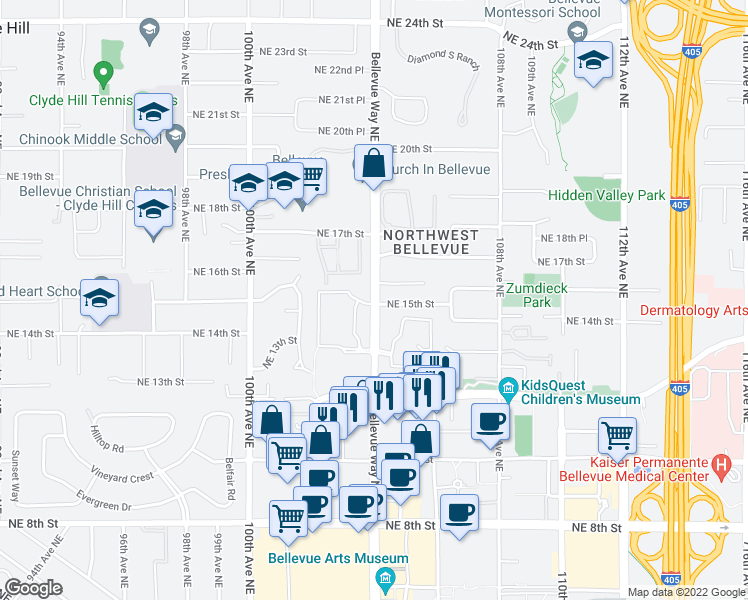 map of restaurants, bars, coffee shops, grocery stores, and more near 1489-1509 104th Avenue Northeast in Bellevue