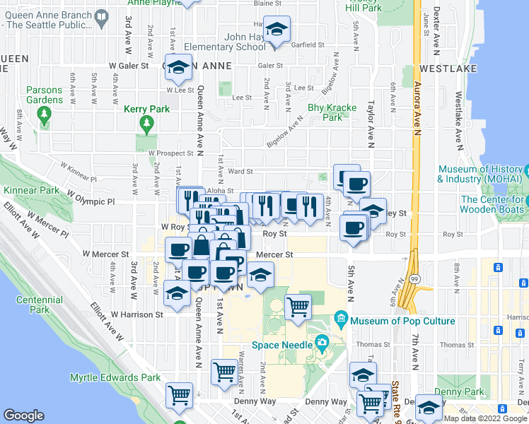 map of restaurants, bars, coffee shops, grocery stores, and more near 2nd Avenue North & Valley Street in Seattle