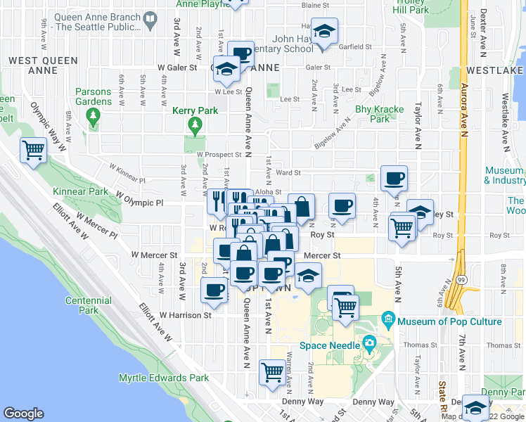 map of restaurants, bars, coffee shops, grocery stores, and more near 16 Valley St in Seattle