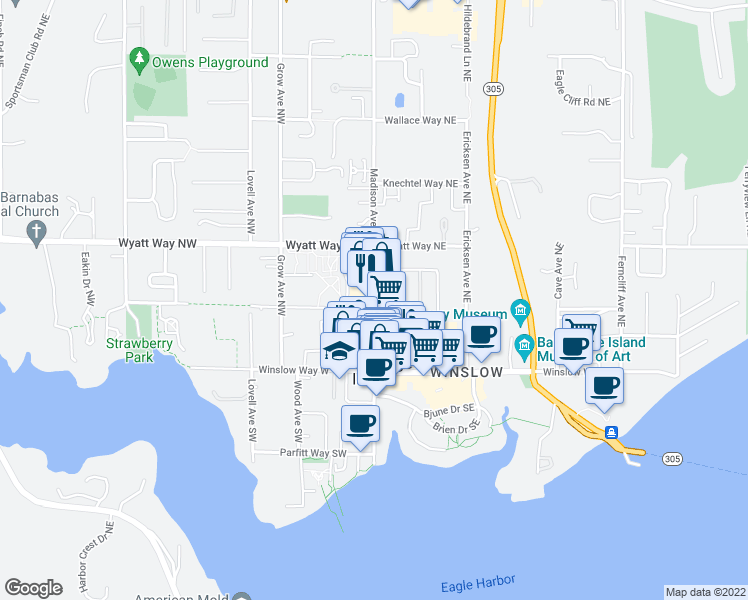 map of restaurants, bars, coffee shops, grocery stores, and more near 299 Madison Avenue North in Bainbridge Island