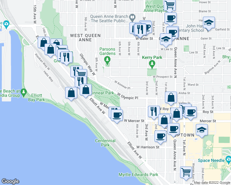 map of restaurants, bars, coffee shops, grocery stores, and more near West Olympic Place & 6th Avenue West in Seattle