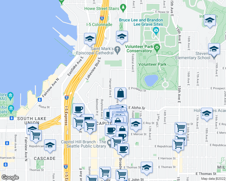 map of restaurants, bars, coffee shops, grocery stores, and more near 803 E Prospect St in Seattle