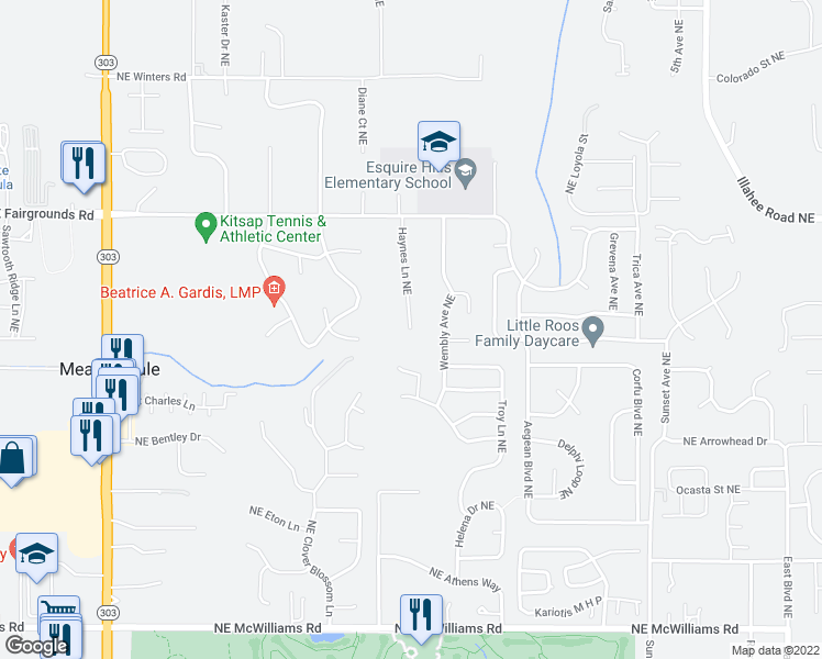 map of restaurants, bars, coffee shops, grocery stores, and more near 7380 Haynes Ln NE in Bremerton