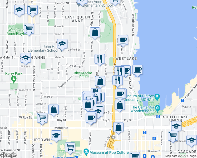 map of restaurants, bars, coffee shops, grocery stores, and more near 1200 Taylor Avenue North in Seattle