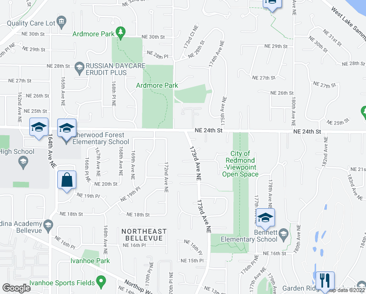 map of restaurants, bars, coffee shops, grocery stores, and more near 2321 173rd Ave NE in Redmond