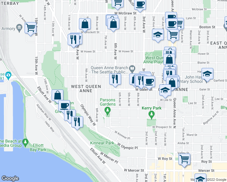 map of restaurants, bars, coffee shops, grocery stores, and more near 621 West Galer Street in Seattle