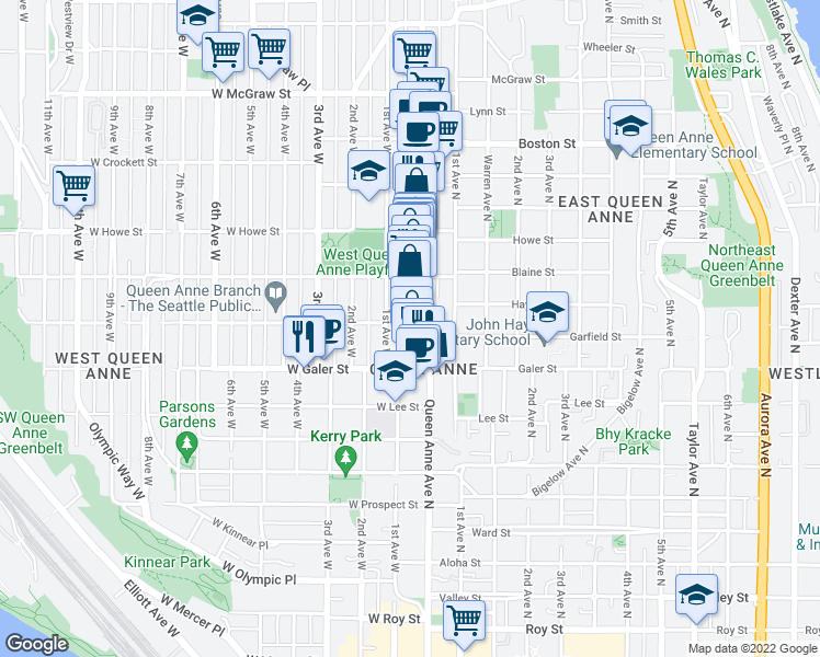 map of restaurants, bars, coffee shops, grocery stores, and more near 1612 1st Avenue West in Seattle