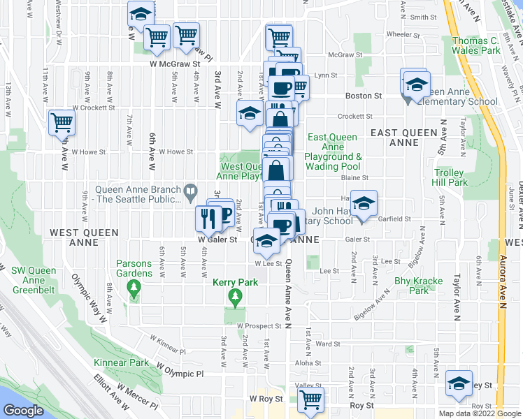 map of restaurants, bars, coffee shops, grocery stores, and more near 4 W Garfield St in Seattle