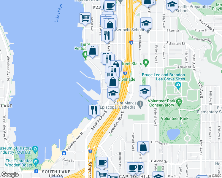 map of restaurants, bars, coffee shops, grocery stores, and more near Eastlake Avenue East & East Garfield Street in Seattle