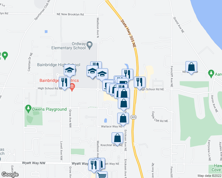 map of restaurants, bars, coffee shops, grocery stores, and more near 323 High School Road Northeast in Bainbridge Island
