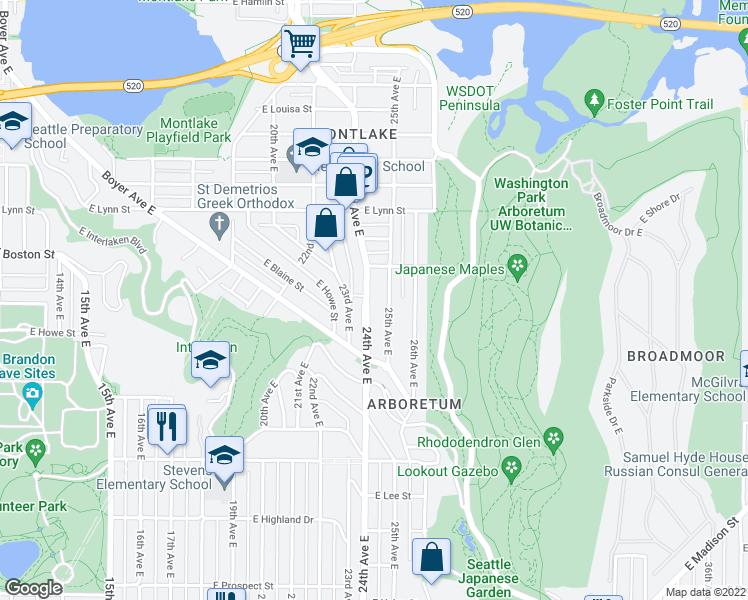 map of restaurants, bars, coffee shops, grocery stores, and more near 1860 24th Ave E in Seattle