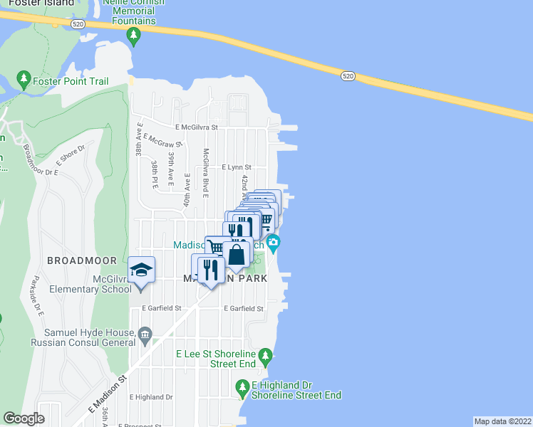 map of restaurants, bars, coffee shops, grocery stores, and more near 4298 East Newton Street in Seattle