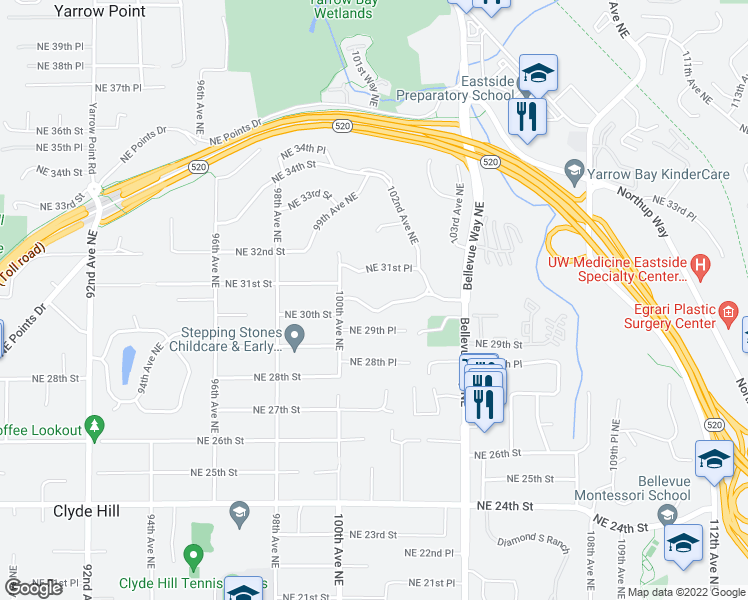 map of restaurants, bars, coffee shops, grocery stores, and more near 10032 NE 30th Pl in Bellevue