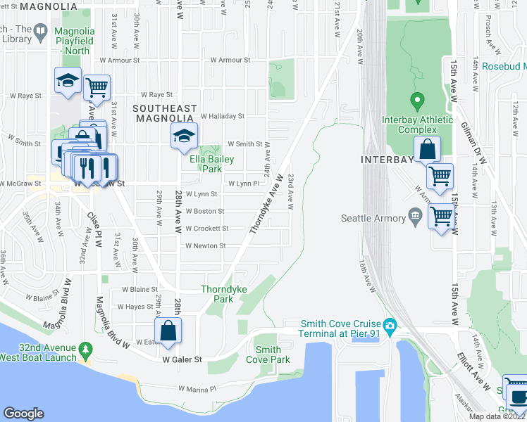 map of restaurants, bars, coffee shops, grocery stores, and more near Thorndyke Avenue West & West Boston Street in Seattle