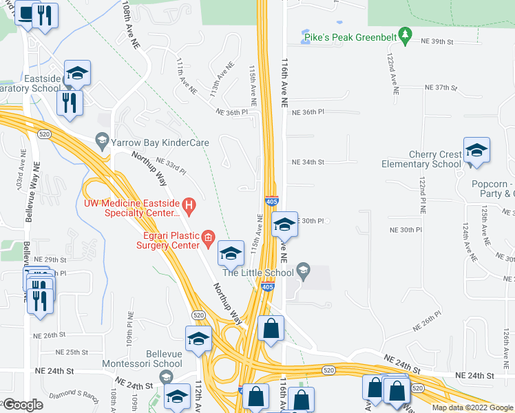 map of restaurants, bars, coffee shops, grocery stores, and more near 2971-3255 115th Avenue Northeast in Bellevue