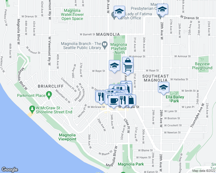map of restaurants, bars, coffee shops, grocery stores, and more near 2578 34th Ave W in Seattle