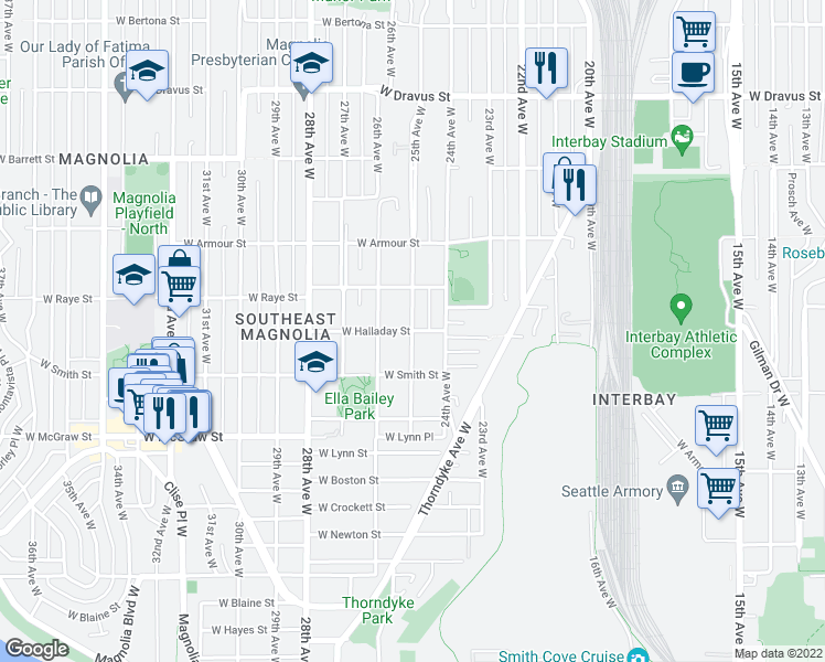 map of restaurants, bars, coffee shops, grocery stores, and more near 25th Avenue West & West Halladay Street in Seattle