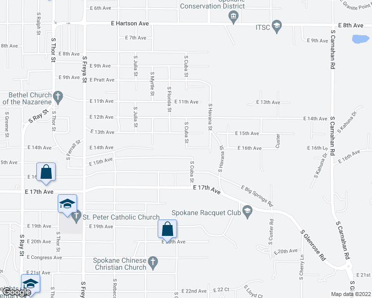 map of restaurants, bars, coffee shops, grocery stores, and more near 4127 East 14th Avenue in Spokane