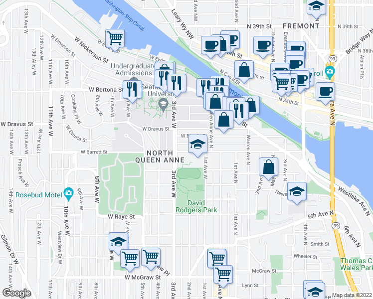 map of restaurants, bars, coffee shops, grocery stores, and more near 140 West Florentia Street in Seattle