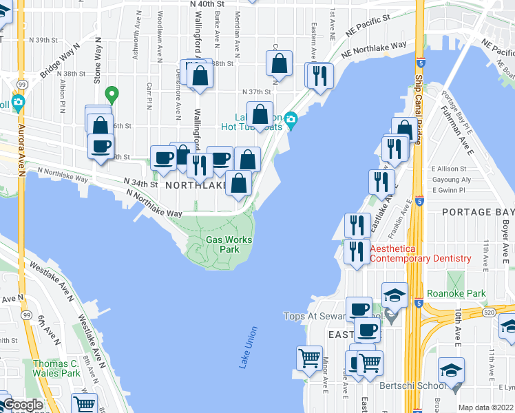 map of restaurants, bars, coffee shops, grocery stores, and more near 2143 North Northlake Way in Seattle
