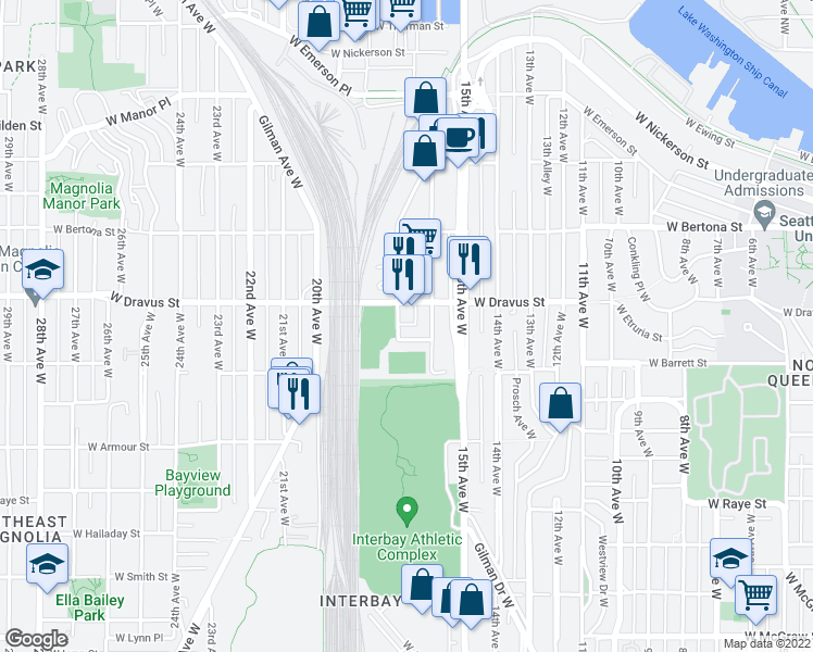 map of restaurants, bars, coffee shops, grocery stores, and more near 3001-3143 17th Ave W in Seattle