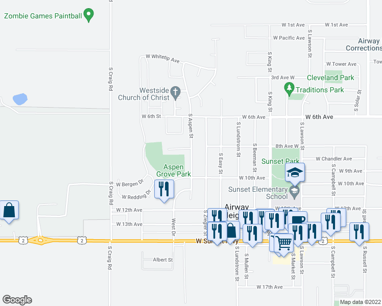 map of restaurants, bars, coffee shops, grocery stores, and more near 825 S Aspen St in Airway Heights