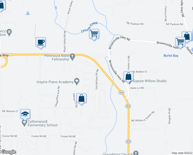 map of restaurants, bars, coffee shops, grocery stores, and more near 9359 NE Old Military Rd in Bremerton