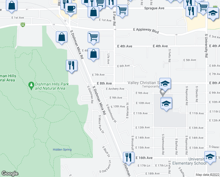 map of restaurants, bars, coffee shops, grocery stores, and more near 9606 East Archery Avenue in Spokane Valley