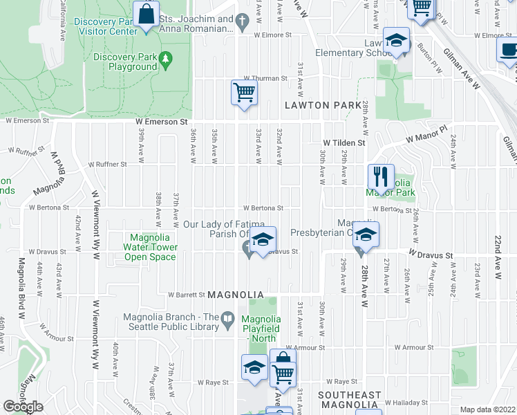 map of restaurants, bars, coffee shops, grocery stores, and more near 33rd Avenue West in Seattle