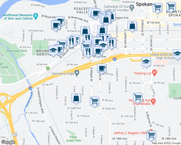 map of restaurants, bars, coffee shops, grocery stores, and more near 1630 W 6th Ave in Spokane