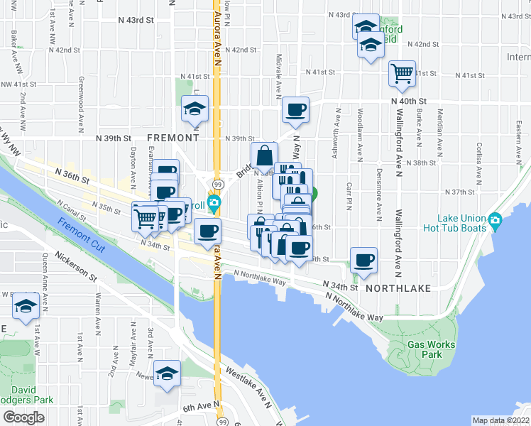 map of restaurants, bars, coffee shops, grocery stores, and more near 3617 Woodland Park Avenue North in Seattle
