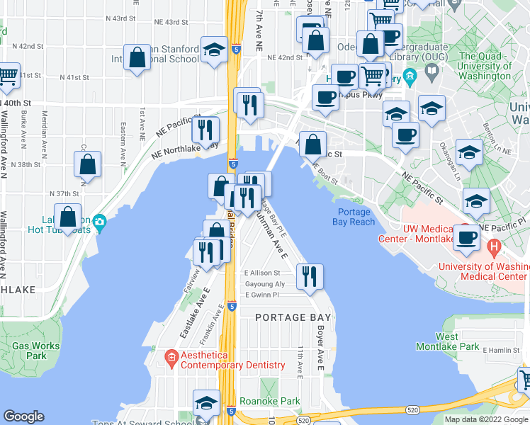 map of restaurants, bars, coffee shops, grocery stores, and more near 3240 Fuhrman Avenue East in Seattle